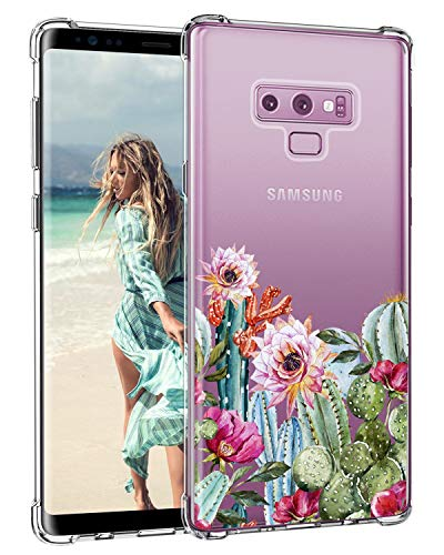 Lontect Compatible Galaxy Note 9 Case Slim Bumper Cushion Clear Floral Soft Flexible TPU Back Cover Transparent Scratch Resistant for Samsung Galaxy Note 9 - Cactus Flower