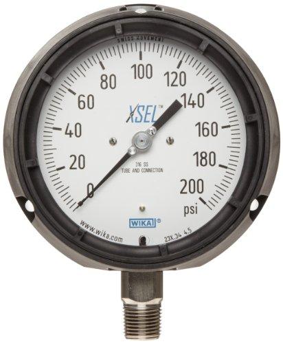 WIKA 9834850 Process Pressure Gauge, Dry-Filled, Stainless Steel 316L Wetted Parts, 4-1/2