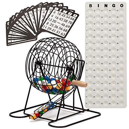 Cage Deluxe Bingo Game (GSE Games & Sports Expert Deluxe Bingo Game Set with Masterboard, Bingo Balls,Bingo Cards (Brass/Black) (Black))