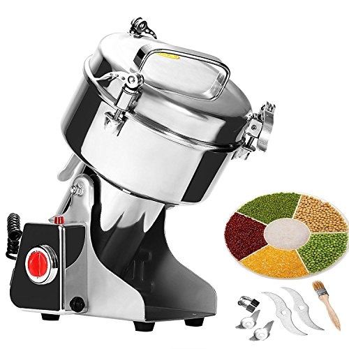 Mophorn 1000g Electric Grain Grinder Mill Powder Machine Swing Type Commercial Electric Grain Mill Grinder for Herb Pulverizer Food Grade Stainless Steel (1000g)