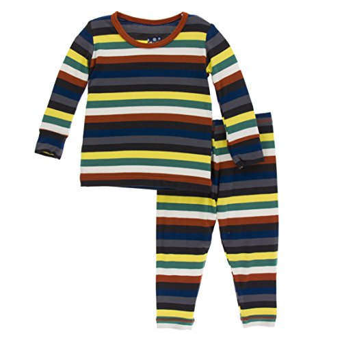 Kickee Pants Little Boys Print Long Sleeve Pajama Set, Dark London Stripe, 3T - Stripe Pyjama Set