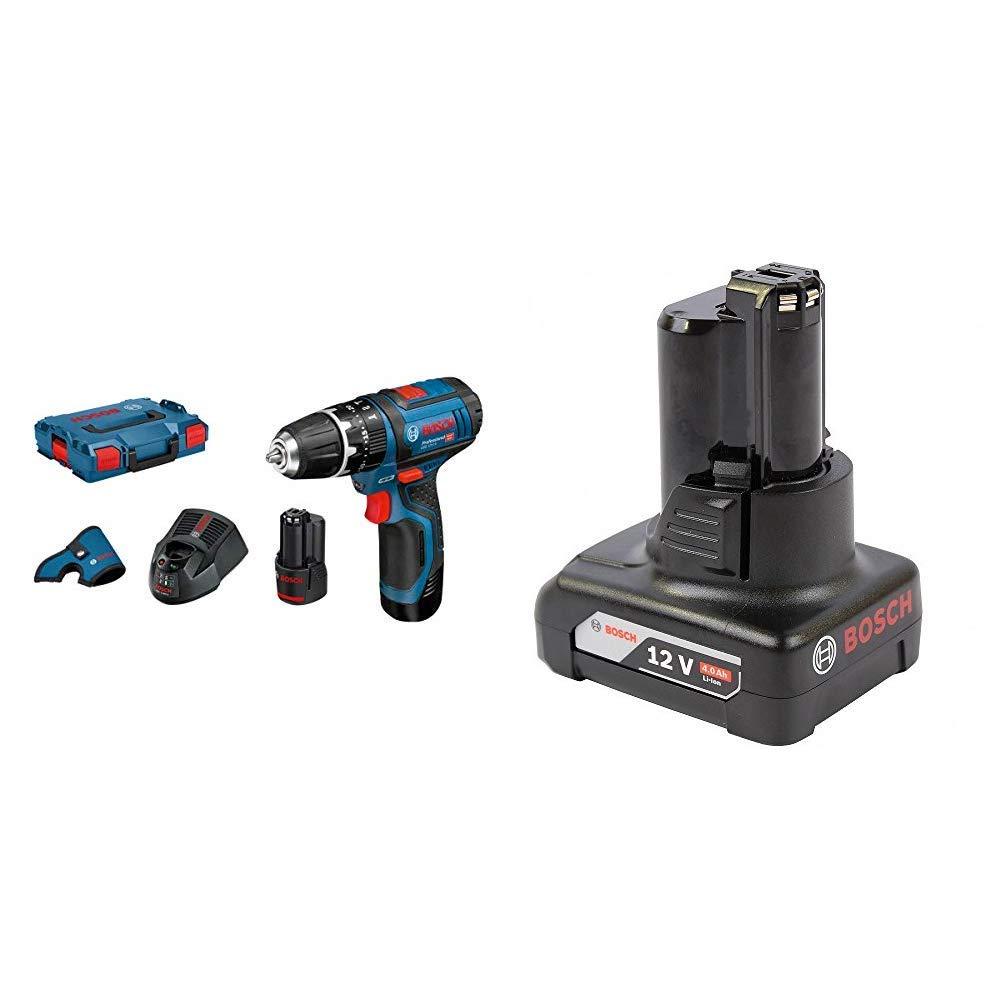Bosch Professional - Taladro percutor a batería GSB 12V-15 + Bosch Professional - Batería de litio GBA 12V 4.0 Ah (compatible con 10, 8 y 12 V)