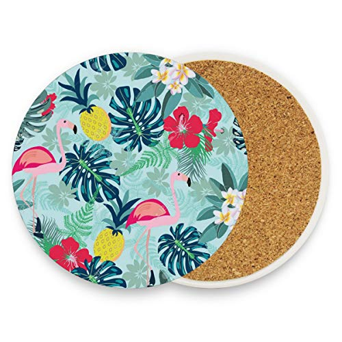 Flamingo Pineapple Toucan Monstera Leaf Coasters, Protect Your Furniture from Stains,Coffee, Wood Coasters Funny Housewarming Gift,Round Cup Mat Pad for Home, Kitchen or Bar 1 piece