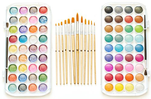 EconoArts Watercolor Paint Set, 72 Opaque Colors (Gouache) - Normal and Pearlescent, 6 Flat, 6 Round, and 2 Basic Brushes (Opaque Watercolor)