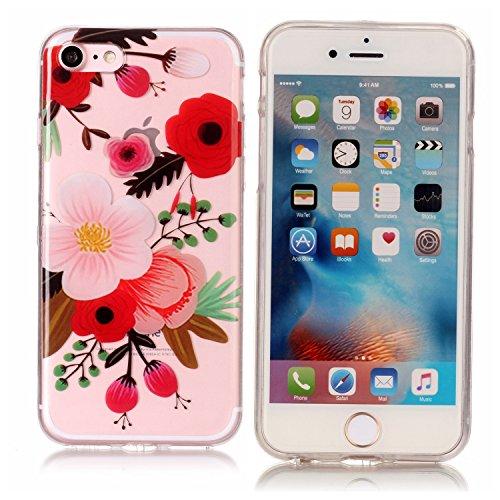 Coque Etui iPhone 7 , Leiai Fleur Silicone Gel Case Avant et Arrière Intégral Full Protection Cover Transparent TPU Housse Anti-rayures pour Apple iPhone 7