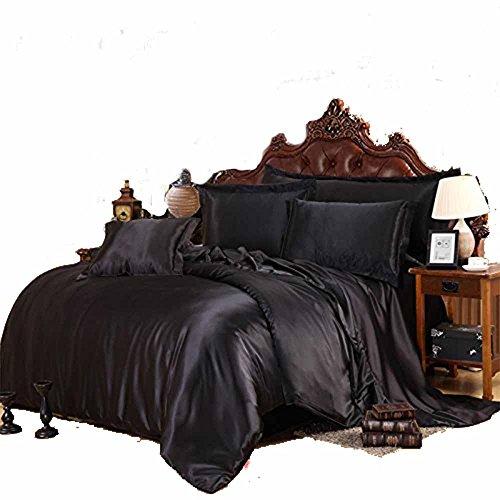Household Space Satin Silky Bedding Collection Black Bedding Set (Black Satin Duvet)