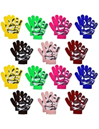 Kids Warm Magic Gloves,14 Pairs Boys Girls Winter Stretchy Knit Gloves (Mixed Colors A, 6-12 Years)