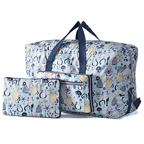 (Arxus Large Foldable Duffel Tote Carry on Travel Bag over Luggage with Shoulder Strap (Smile Cat))