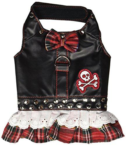 Doggles Dress Biker Plaid Harness, Red, X-Small
