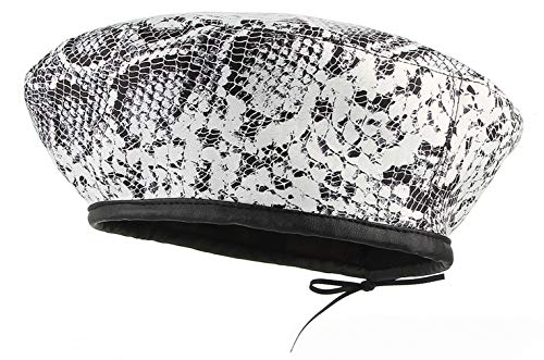 GEMVIE Women Velvet French Style Beret Hat Warm Winter Leopard Snakeskin Printed Fiddler Painter Hat White