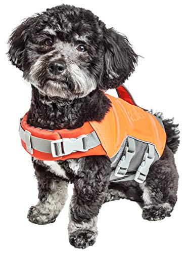 Dog Helios 'Tidal Guard' Multi-Point Strategically-Stitched Reflective Pet Dog Life Jacket Vest, Large, Orange by Pet Life (Image #1)