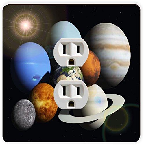 Rikki Knight Solar System Planets Single Outlet Plate by Rikki Knight
