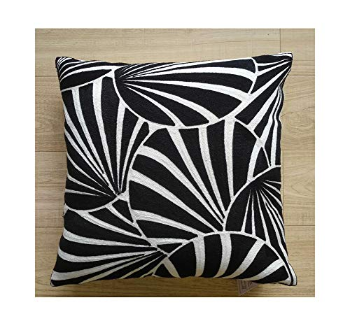 Aitliving Decorative Pillowcase Gagliano Embroidered Cotton Canvas 1pc Art Deco Fans Abstract Geometric Circles Decorative Throw Pillow Cover Black and White 18