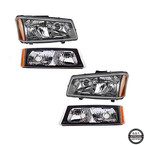 (Headlights Assembly for 2003-2007 Chevy Silverado 1500 2500 3500 1500HD 2500HD 2003-2006 Chevy Avalanche with Black Housing Amber Reflector Clear Lens Headlamps Replacement for Driver & Passenger Side)