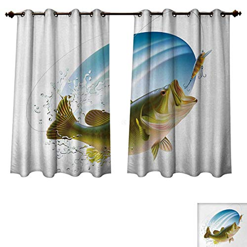 (Anzhouqux Fishing Blackout Thermal Curtain Panel Largemouth Sea Bass Catching a Bite in Water Spray Motion Splashing Wild Image Patterned Drape for Glass Door Green Blue W52 x L63)