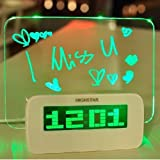LED Digital Alarm Clock with Fluorescent Message Board (Green)