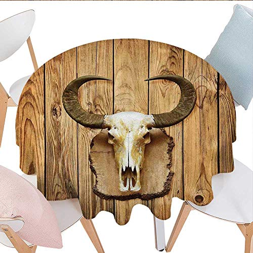 und Vinyl Tablecloth Buffalo Bull Skull with Horns Hanging on Rustic Wooden Plank Image Print Farmhouse Tablecloth 54
