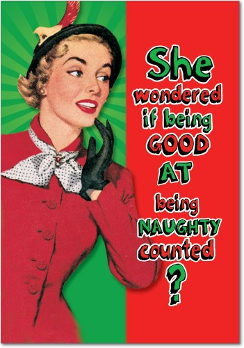 12 'Being Good Counts' Boxed Christmas Cards with Envelopes 4.63 x 6.75 inch, Hilarious Naughty Nice List Holiday Notes, Old Fashioned Artwork of Classy Woman Christmas Cards B5925 -