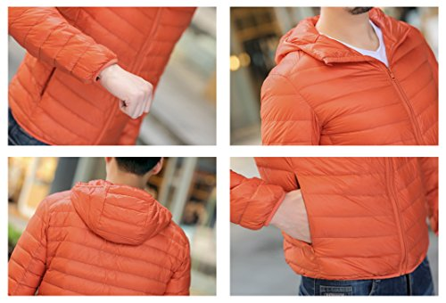 Plain Men's Warm Stripe Quibine Hooded Jacket Down Lightweight Padded Orange Coat qtSwxxRd