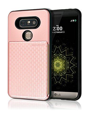 LG G5 Push Hidden Wallet Case [Card Slot] [Heavy Duty] [Slim Fit] [Textured Grip] Dual Layer Hybrid Tough Shield Front Screen Drop Protection Rubber Back Bumper Hard Holder Cover LGG5 (Rose Gold)