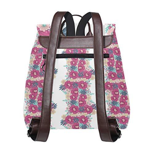 Gratulationskort med blommor ryggsäck handväska mode PU-läder ryggsäck ledig ryggsäck för kvinnor
