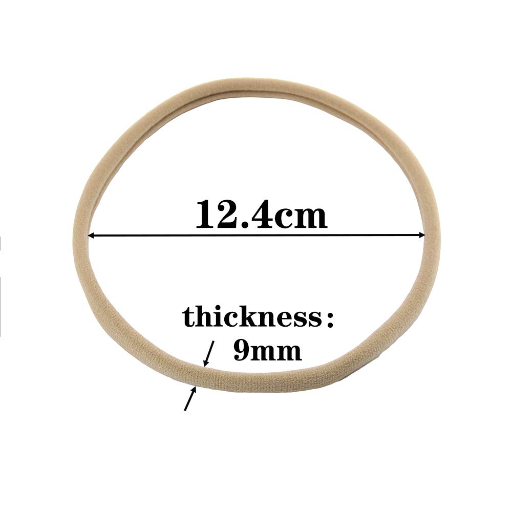 Miuance 24 Pack Nylon Headbands Nude Super Soft Stretchy one Size fits All Elastic Bands for Infant Baby Babies Girl Toddler Adult Skinny Headbands Run-Resistant Headbands DIY Baby Headbands