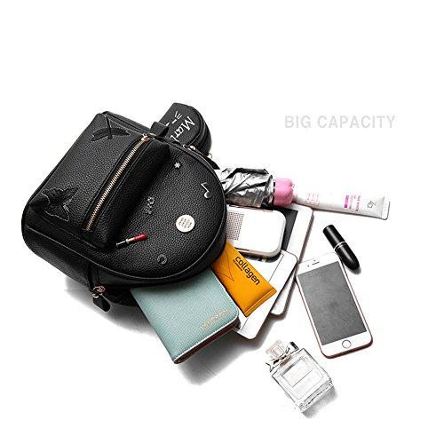 Flada niñas mochila PU cuero escuela bolsas mochila lindo Bookbag monedero con pequeño gato Monedero gris Beige