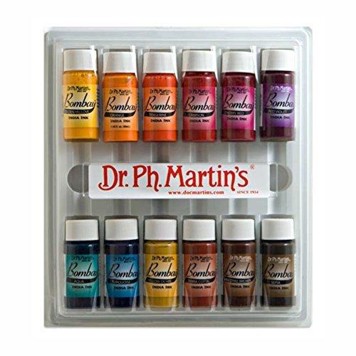 Dr. Ph. Martin's Bombay India Ink Bottles, 0.5 oz, Set of 12 (Set #2) by Dr. Ph. Martin's