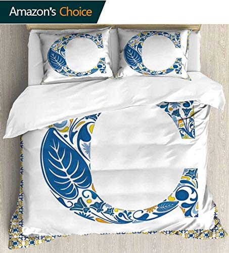 shirlyhome Letter C European Style Print Bed Set,Portuguese Culture Inspired Natural Elements in Letter C Alphabet Print Bedding Sets,1 Duvet Cover,1 Pillowcase 79