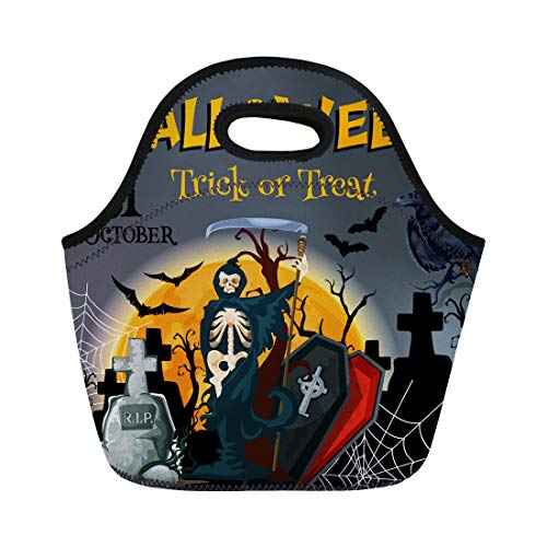 Semtomn Neoprene Lunch Tote Bag Halloween Trick Treat Party for 31 October Horror Night Reusable Cooler Bags Insulated Thermal Picnic Handbag for -