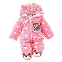 Newborn Rompers Baby Girls Clothes Winter Infant Clothing (0-3 months, pink)