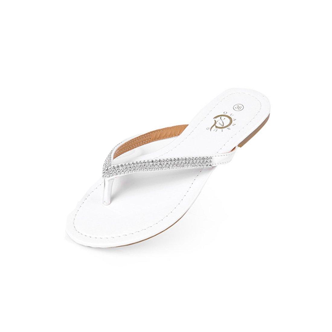 Niceful Women's Flat Rhinestone Flip Flops PU Large Size Casual Summer Sandals B07BKXZ37T 6.5 B(M) US|White