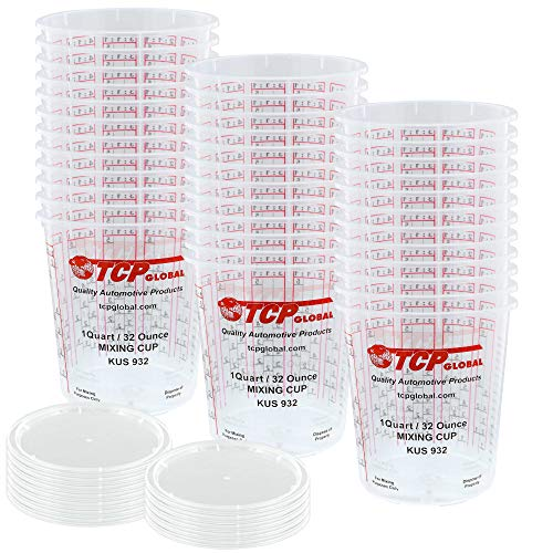 Custom Shop - Pack of 36 Each - 32 Ounce Graduated Paint Mixing Cups - Cups are Calibrated with Multiple Mixing Ratios - Also Includes 12 Lids (Measuring Lid Includes)