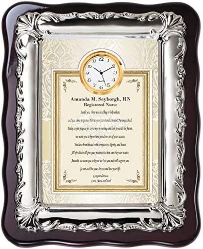 Amazon Com Nursing School Graduation Gift Congratulations Message Silver Plaque Frame Desk Clock Graduate Student Best Him Her Unique Rn Bsn Msn Dnp Lpn Registered Nurse