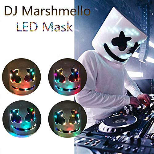 Per LED Marshmello DJ Mask Full Head Helmet Cosplay Marshmallow Party Bar Concert Music -