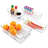 mDesign Kitchen, Pantry, Refrigerator, Freezer Storage Organizer Bins - Set of 4, Clear