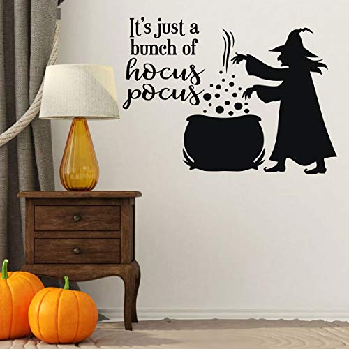 Hocus Pocus Halloween Decoration Movie Quote - 'It Just a Bunch of Hocus Pocus' - Halloween Witch Silhouette -Fall Vinyl Decor for the Home or Door ()