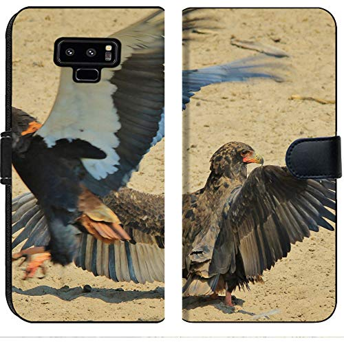 (Luxlady Samsung Galaxy Note 9 Flip Fabric Wallet Case Image ID: 22291381 Bateleur Eagle Wild Bird Background from Africa Flight of The Eagle)