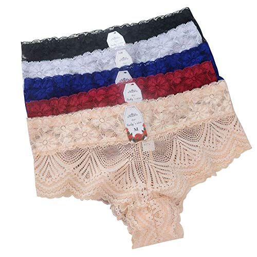 W&LANLING Women Lace Underwear Women Seamless Panties Bikini Panties Sexy Hipster Panties (244-5pack-XL)