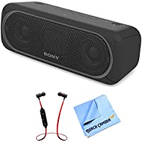Sony XB30 Portable Wireless Speaker with Bluetooth Black 2017 model (SRSXB30/BLK) with Xtreme Fusion Bluetooth Headphones Black/Red & 1 Piece Micro Fiber Cloth