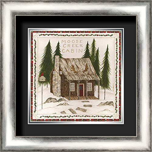 Silver Creek Cabin - Moose Creek Cabin 20x20 Silver Contemporary Wood Framed and Double Matted (Black Over Silver) Art Print by Shamp, Cindy