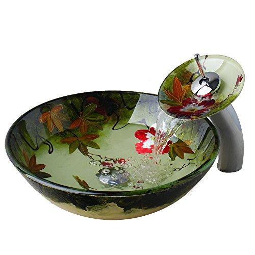 WEIXINTECH Bathroom Basin Sink Cherry Blossoms Tempered Glass Washbasin Washroom Basin Vessel Sinks Waterfall Tap Vanity Faucet Counter Top Mixer Set