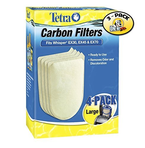 Carbon Cartridge Filter Media - Tetra Whisper EX Carbon Filter Cartridge Large 4 Pieces - 3 PACK