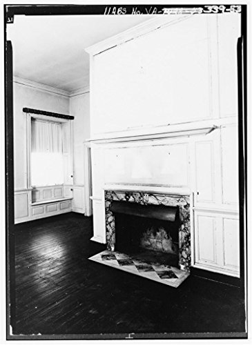 Vintography 8 x 12 Photo 53. Fireplace in Library, First Floor - Chatham, State Routes 3 & 607 Vicinity, Falmouth, Stafford County, VA 1899 45a by Vintography