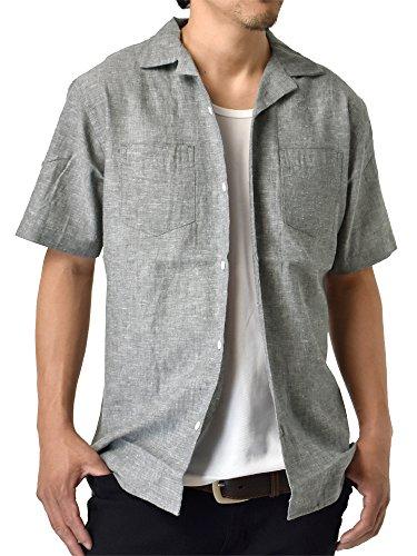 くそー背景価値(アルージェ) ARUGE 麻 半袖シャツ リネンブレンド 開襟シャツ オープンカラー リゾート カジュアルシャツ メンズ/D8B