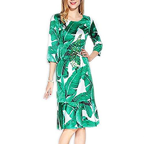 Venetia Morton Fashion Designer Runway Summer Dress Womens 3 4 Sleeve Beading Sequined Casual Green Banana Leaf Floral Printed Ruffles Dress