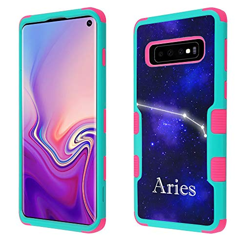 for Samsung Galaxy S10 Case, 3-Layer Hybrid Shockproof Protective Phone Case (Teal/Pink) by One Tough Shield - Zodiac/Aries