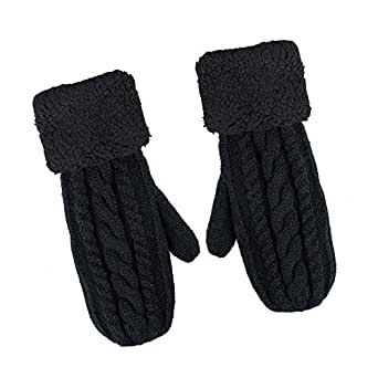 Chanvi Women's Winter Gloves Warm Lining - Cozy Wool Knit Thick Gloves