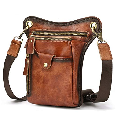 - Vintage Leather Drop Leg Bag for Men Women Thigh Hip Bum Waist Fanny Pack Motorcycle Bike Riding Cycling Multi-Purpose Travel Hiking Sports Camping Pouch Brown