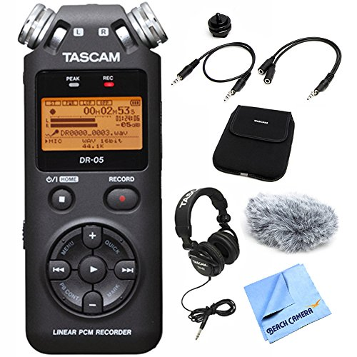 Tascam DR-05 Portable Digital Recorder (DR-05) with Accessory Pack for DR Series, Closed-Back Professional Headphones Black & Beach Camera Micro Fiber Cloth by Tascam